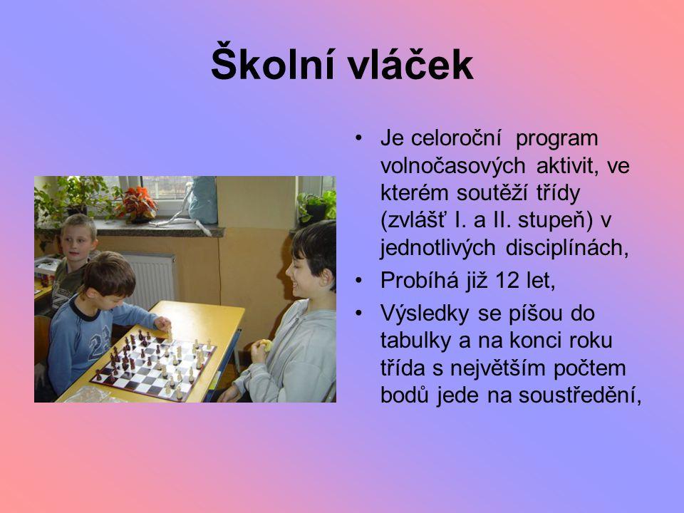 Školní vláček Je celoroční program volnočasových aktivit, ve kterém soutěží třídy (zvlášť I. a II. stupeň) v jednotlivých disciplínách, Probíhá již 12