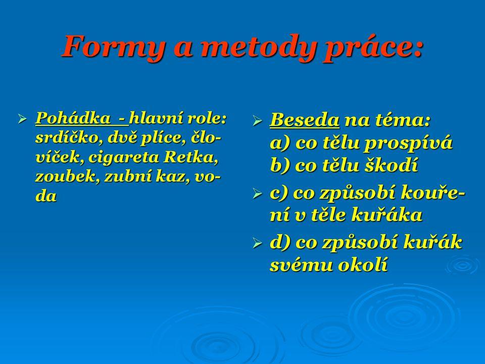 Formy a metody práce:  Pohádka - hlavní role: srdíčko, dvě plíce, člo- víček, cigareta Retka, zoubek, zubní kaz, vo- da  Beseda na téma: a) co tělu