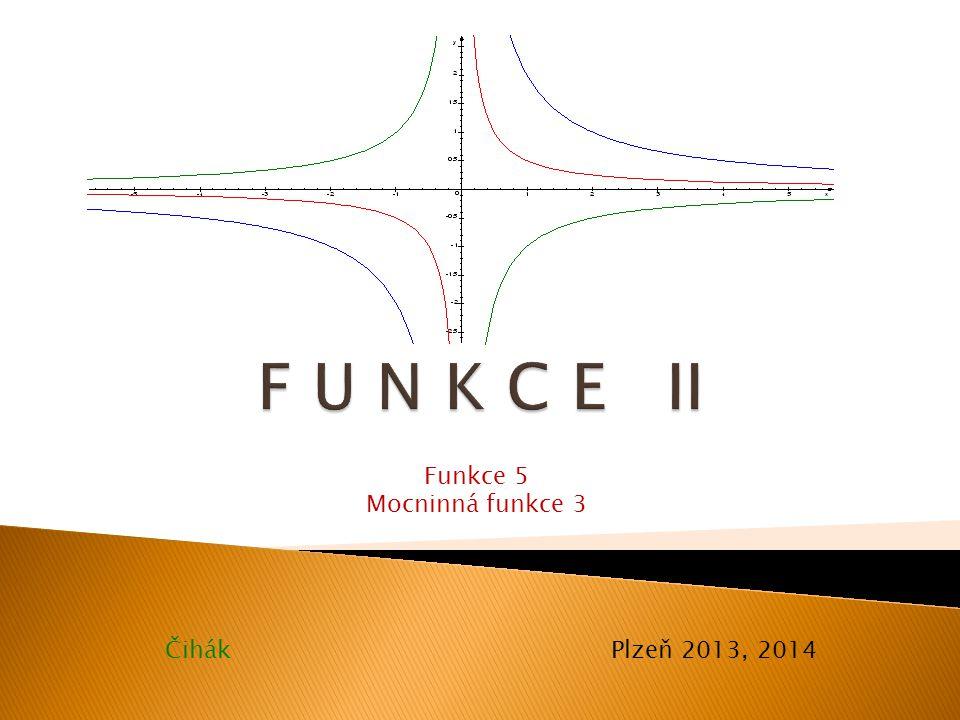 """Exponent n ∈ Z -, n liché: Vlastnosti určíme z grafů následujících funkcí: f 1 : y = x -1,f 2 : y = x -3,f 3 : y = x -5,Grafy:Grafy: Vlastnosti funkce s exponentem n ∈ Z +, n liché: D(f) = R-{0},H(f) = R-{0} prostá,klesající na (-∞;0), (0;+∞) lichá,není omezená (ani shora, ani zdola) Poznámka : Dál: Dál: platí: f(-1) = -1,f(1) = 1 se zvyšující se hodnotou exponentu n se na intervalu (-∞;-1), (1;+∞) graf funkce více """"přimyká k ose x"""