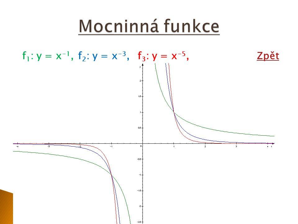 """Exponent n ∈ Z -, n sudé: Vlastnosti určíme z grafů následujících funkcí: f 1 : y = x -2,f 2 : y = x -4,f 3 : y = x -6,Grafy:Grafy: Vlastnosti funkce s exponentem n ∈ Z +, n sudé: D(f) = R-{0},H(f) = ( 0;+∞) není prostá,rostoucí na (- ∞ ;0⟩,klesajíc í na ⟨0;∞) sudá,zdola omezená Poznámka : Dál: Dál: platí: f(-1) = 1,f(1) = 1 se zvyšující se hodnotou exponentu n se na intervalu (-∞;-1), (1;+∞) graf funkce více """"přimyká k ose x"""
