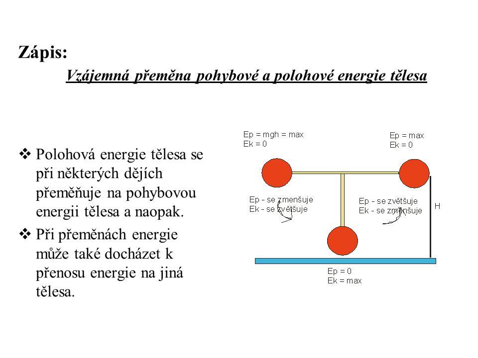 Zápis: Vzájemná přeměna pohybové a polohové energie tělesa  Polohová energie tělesa se při některých dějích přeměňuje na pohybovou energii tělesa a n