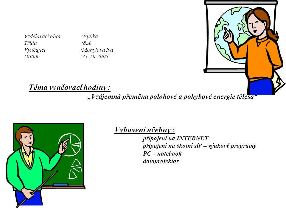 """Vzdělávací obor:Fyzika Třída:8.A Vyučující :Mohylová Iva Datum :31.10.2005 Téma vyučovací hodiny : """"Vzájemná přeměna polohové a pohybové energie těles"""