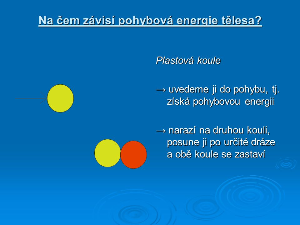 Plastová koule při prudším nárazu → koule se pohybuje rychleji → po nárazu červenou kouli posune dále, tj.
