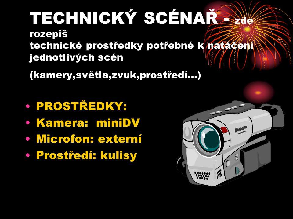 TECHNICKÝ SCÉNAŘ - zde rozepiš technické prostředky potřebné k natáčení jednotlivých scén (kamery,světla,zvuk,prostředí…) PROSTŘEDKY: Kamera: miniDV M