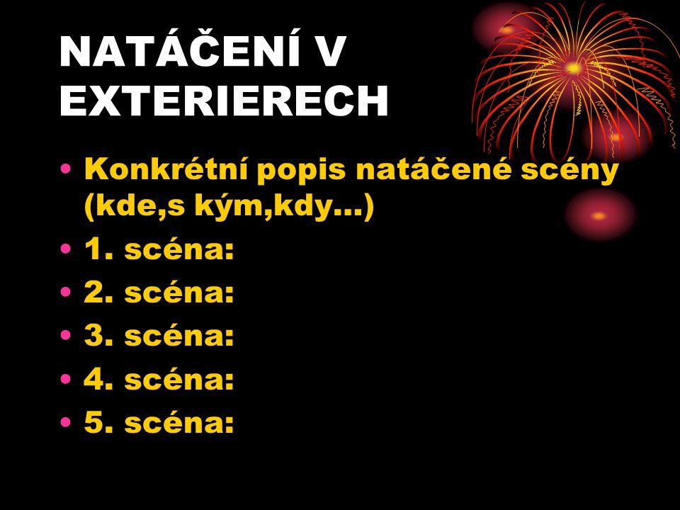NATÁČENÍ V EXTERIERECH Konkrétní popis natáčené scény (kde,s kým,kdy…) 1. scéna: 2. scéna: 3. scéna: 4. scéna: 5. scéna: