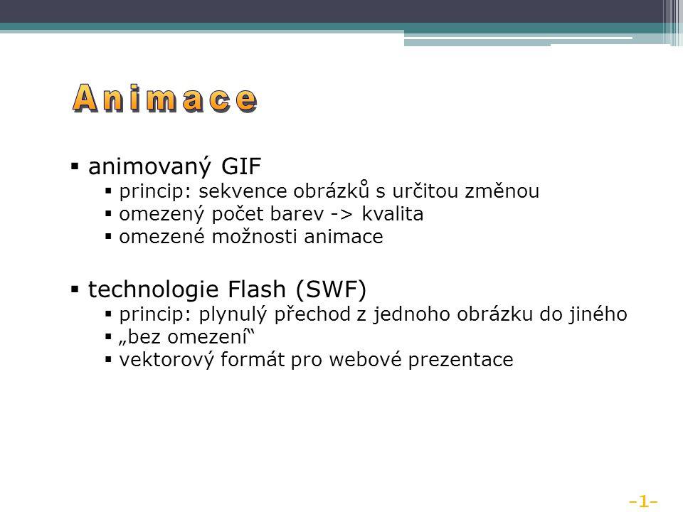 """ animovaný GIF  princip: sekvence obrázků s určitou změnou  omezený počet barev -> kvalita  omezené možnosti animace  technologie Flash (SWF)  princip: plynulý přechod z jednoho obrázku do jiného  """"bez omezení  vektorový formát pro webové prezentace -1-"""