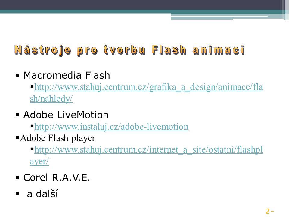  Macromedia Flash  http://www.stahuj.centrum.cz/grafika_a_design/animace/fla sh/nahledy/ http://www.stahuj.centrum.cz/grafika_a_design/animace/fla sh/nahledy/  Adobe LiveMotion  http://www.instaluj.cz/adobe-livemotion http://www.instaluj.cz/adobe-livemotion  Adobe Flash player  http://www.stahuj.centrum.cz/internet_a_site/ostatni/flashpl ayer/ http://www.stahuj.centrum.cz/internet_a_site/ostatni/flashpl ayer/  Corel R.A.V.E.