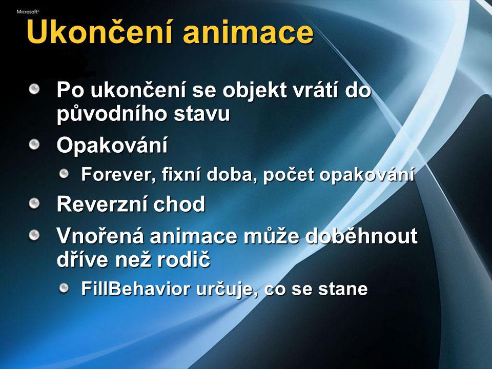 Ukončení animace Po ukončení se objekt vrátí do původního stavu Opakování Forever, fixní doba, počet opakování Reverzní chod Vnořená animace může doběhnout dříve než rodič FillBehavior určuje, co se stane