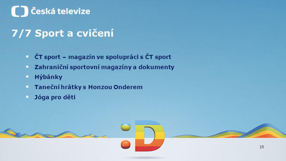 15 7/7 Sport a cvičení  ČT sport – magazín ve spolupráci s ČT sport  Zahraniční sportovní magazíny a dokumenty  Hýbánky  Taneční hrátky s Honzou O