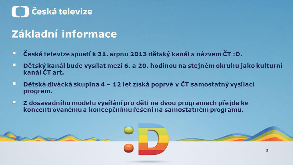 3 Základní informace  Česká televize spustí k 31. srpnu 2013 dětský kanál s názvem ČT :D.  Dětský kanál bude vysílat mezi 6. a 20. hodinou na stejné