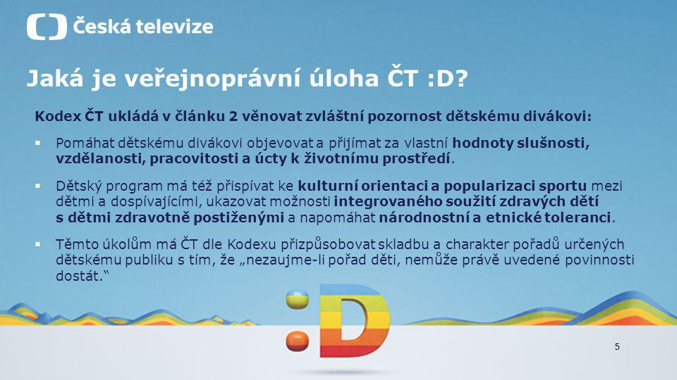 5 Jaká je veřejnoprávní úloha ČT :D? Kodex ČT ukládá v článku 2 věnovat zvláštní pozornost dětskému divákovi:  Pomáhat dětskému divákovi objevovat a