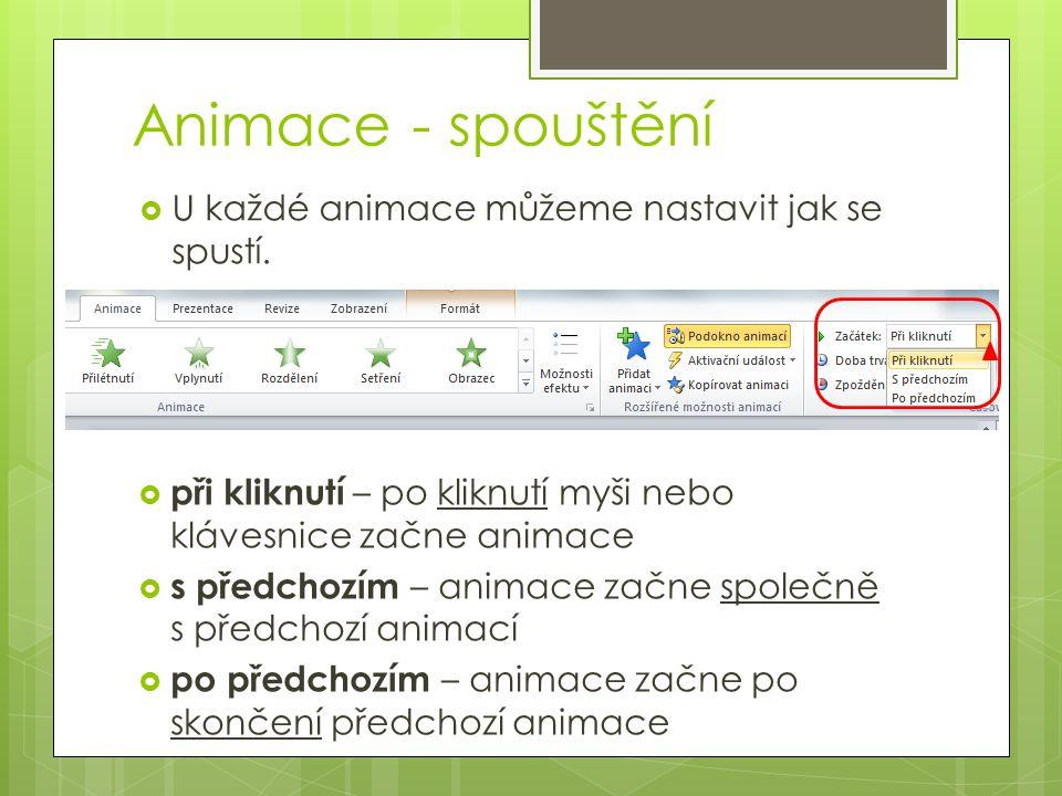 Animace - spouštění  U každé animace můžeme nastavit jak se spustí.  při kliknutí – po kliknutí myši nebo klávesnice začne animace  s předchozím –
