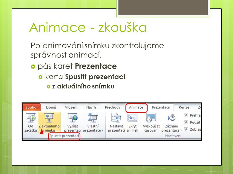 Animace - zkouška Po animování snímku zkontrolujeme správnost animací.  pás karet Prezentace  karta Spustit prezentaci  z aktuálního snímku