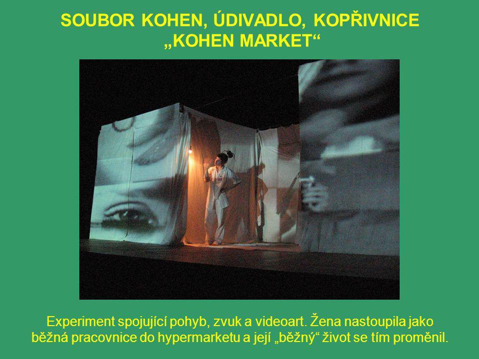 """SOUBOR KOHEN, ÚDIVADLO, KOPŘIVNICE """"KOHEN MARKET Experiment spojující pohyb, zvuk a videoart."""