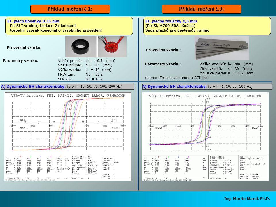 Ing. Martin Marek Ph.D. Parametry vzorku:Vnitřní průměr:d1= 16,5 (mm) Vnější průměr:d2= 27 (mm) Výška vzorku:tl = 10 (mm) PRIM zav.N1 = 35 z SEK záv.N