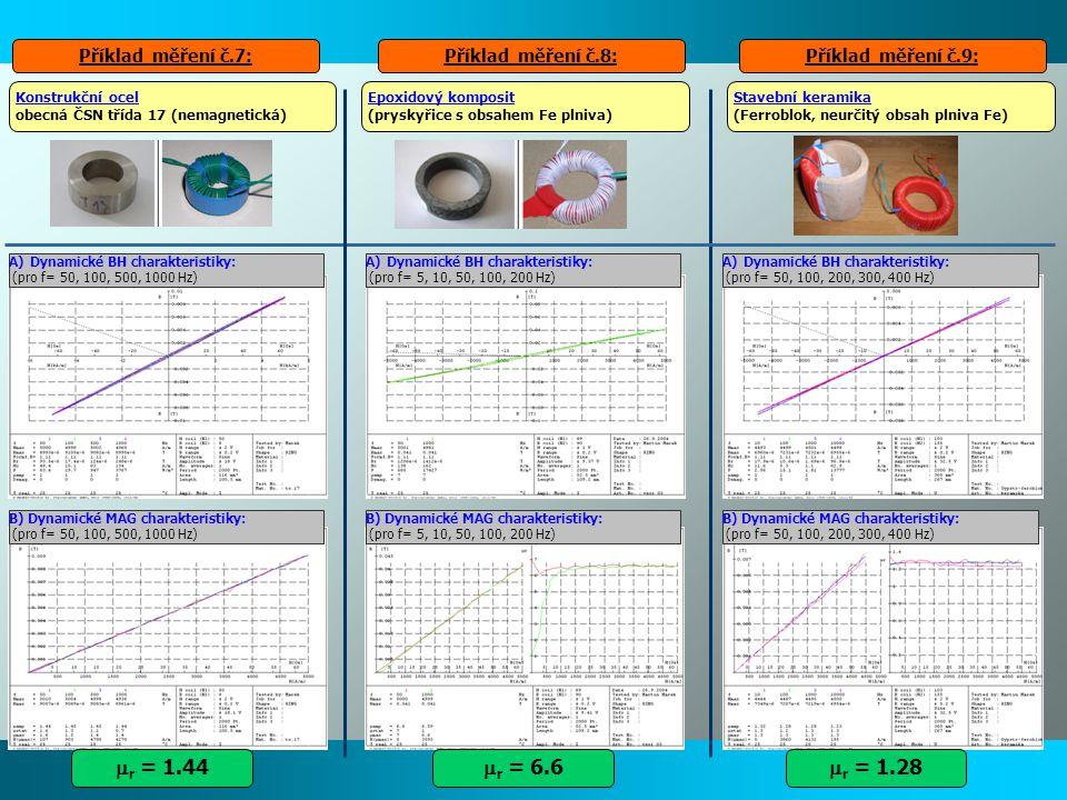 Konstrukční ocel obecná ČSN třída 17 (nemagnetická) Příklad měření č.7:Příklad měření č.8:Příklad měření č.9: Epoxidový komposit (pryskyřice s obsahem