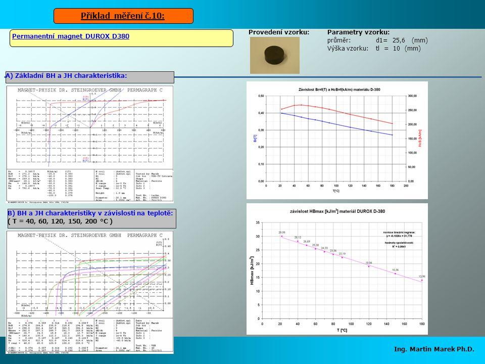Ing. Martin Marek Ph.D. Parametry vzorku: průměr:d1= 25,6 (mm) Výška vzorku:tl = 10 (mm) Permanentní magnet DUROX D380 Příklad měření č.10: Provedení