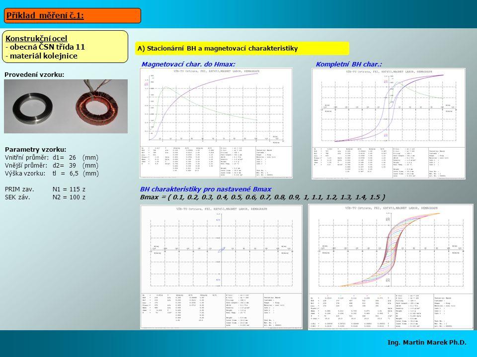 Ing. Martin Marek Ph.D. Parametry vzorku: Vnitřní průměr:d1= 26 (mm) Vnější průměr:d2= 39 (mm) Výška vzorku:tl = 6,5 (mm) PRIM zav.N1 = 115 z SEK záv.