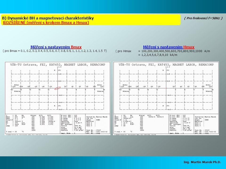 Ing. Martin Marek Ph.D. Měření s nastavením Hmax ( pro Hmax = 100,200,300,400,500,600,700,800,900,1000 A/m = 1,2,3,4,5,6,7,8,9,10 kA/m Měření s nastav