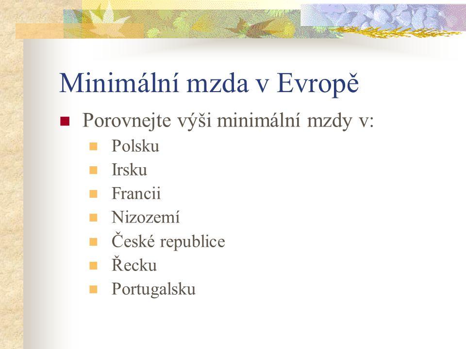 Minimální mzda v Evropě Porovnejte výši minimální mzdy v: Polsku Irsku Francii Nizozemí České republice Řecku Portugalsku