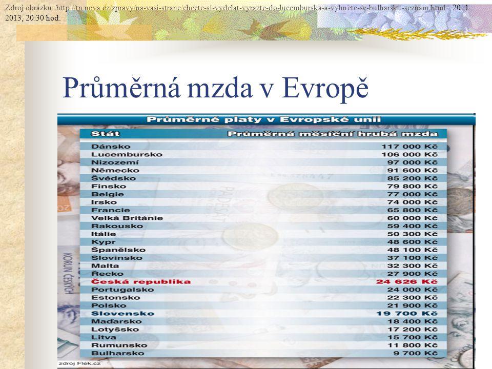 Průměrná mzda v Evropě Zdroj obrázku: http://tn.nova.cz/zpravy/na-vasi-strane/chcete-si-vydelat-vyrazte-do-lucemburska-a-vyhnete-se-bulharsku-seznam.html, 20.