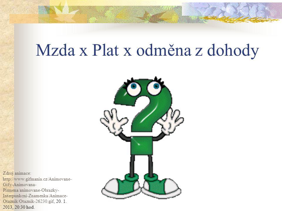 Mzda x Plat x odměna z dohody Zdroj animace: http://www.gifmania.cz/Animovane- Gify-Animovana- Pismena/animovane-Obrazky- Interpunkcni-Znamenka/Animace- Otaznik/Otaznik-26230.gif, 20.