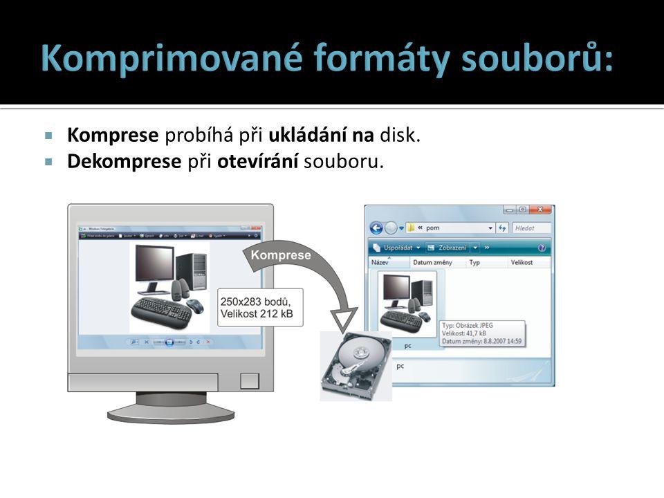  Komprese probíhá při ukládání na disk.  Dekomprese při otevírání souboru.