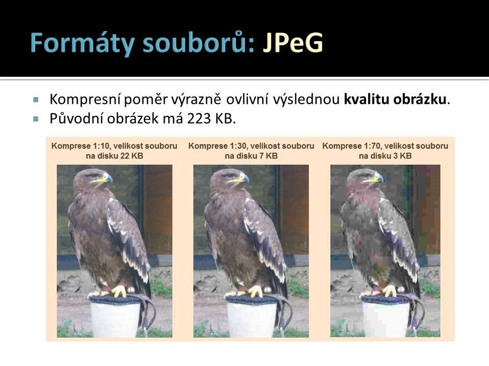  GIF : bezeztrátově komprimovaný formát  Barevná hloubka obrázku může být max.