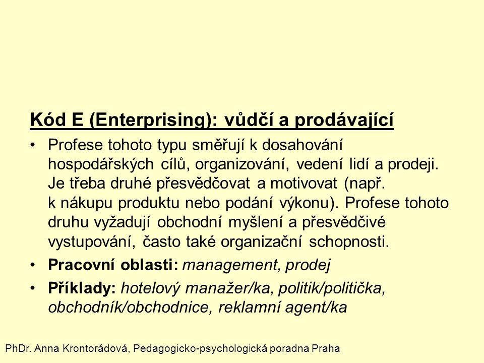 Kód E (Enterprising): vůdčí a prodávající Profese tohoto typu směřují k dosahování hospodářských cílů, organizování, vedení lidí a prodeji. Je třeba d