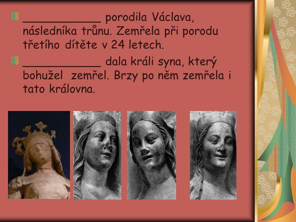 ___________ porodila Václava, následníka trůnu. Zemřela při porodu třetího dítěte v 24 letech. ___________ dala králi syna, který bohužel zemřel. Brzy