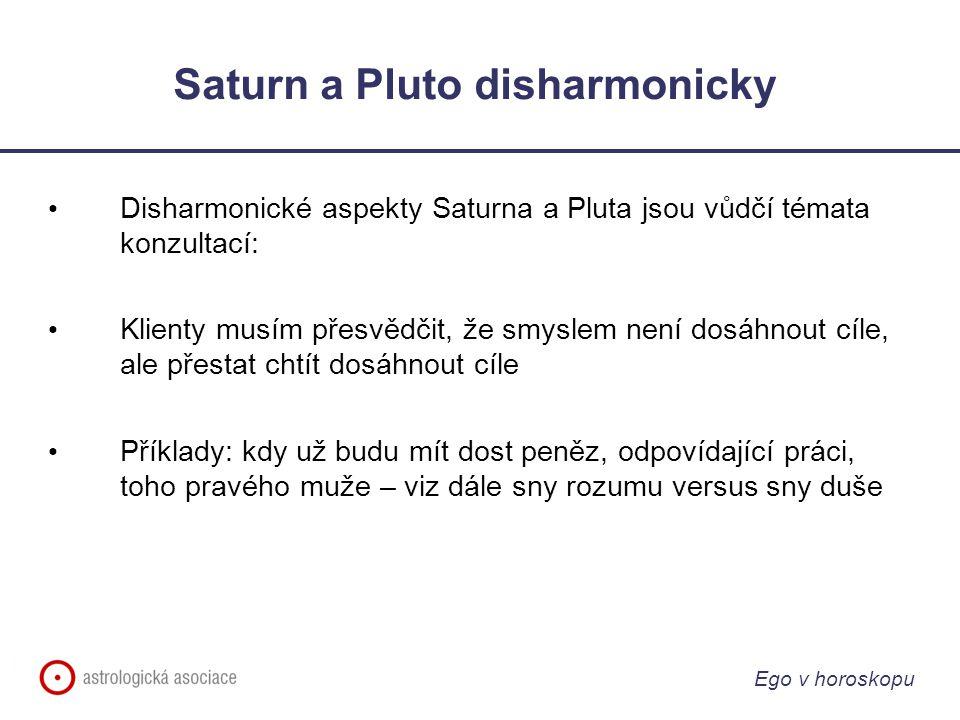 Ego v horoskopu Saturn a Pluto disharmonicky Disharmonické aspekty Saturna a Pluta jsou vůdčí témata konzultací: Klienty musím přesvědčit, že smyslem