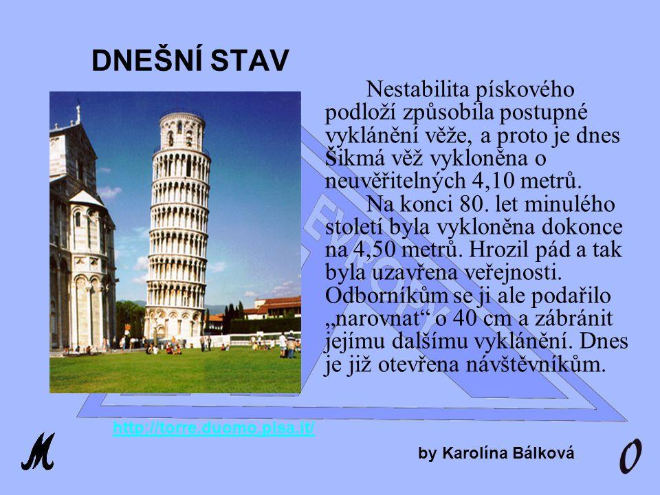 Šikmá věž je vysoká 55 metrů, má kruhový půdorys a vzpíná se do výše v deseti poschodích (včetně prostoru pro zvony).