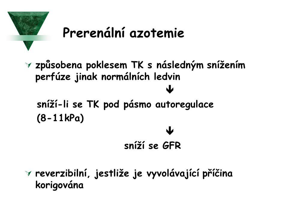 Prerenální azotemie 1) selhání srdce jako čerpadla  Akutní IM  arytmie s nízkým minutovým výdejem  tamponáda perikardu 2) hypovolemie  ztráta celé krve (hemoragie)  ztráta plazmy - renální - extrarenální 3) pokles odporu v systémové cirkulaci  sepse  antihypertenzní terapie