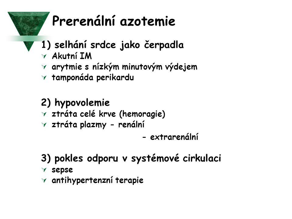 Prerenální azotemie 1) selhání srdce jako čerpadla  Akutní IM  arytmie s nízkým minutovým výdejem  tamponáda perikardu 2) hypovolemie  ztráta celé