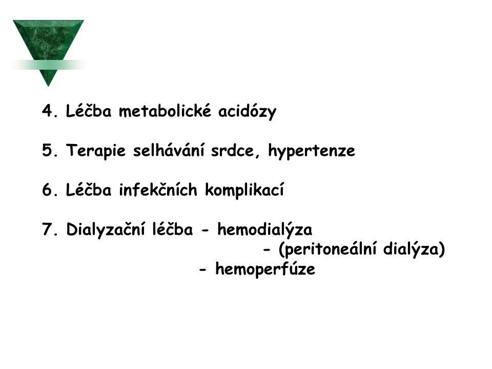 4. Léčba metabolické acidózy 5. Terapie selhávání srdce, hypertenze 6. Léčba infekčních komplikací 7. Dialyzační léčba - hemodialýza - (peritoneální d