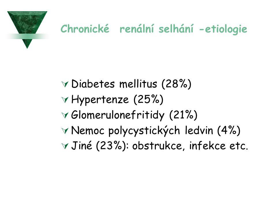 Chronické renální selhání -etiologie  Diabetes mellitus (28%)  Hypertenze (25%)  Glomerulonefritidy (21%)  Nemoc polycystických ledvin (4%)  Jiné