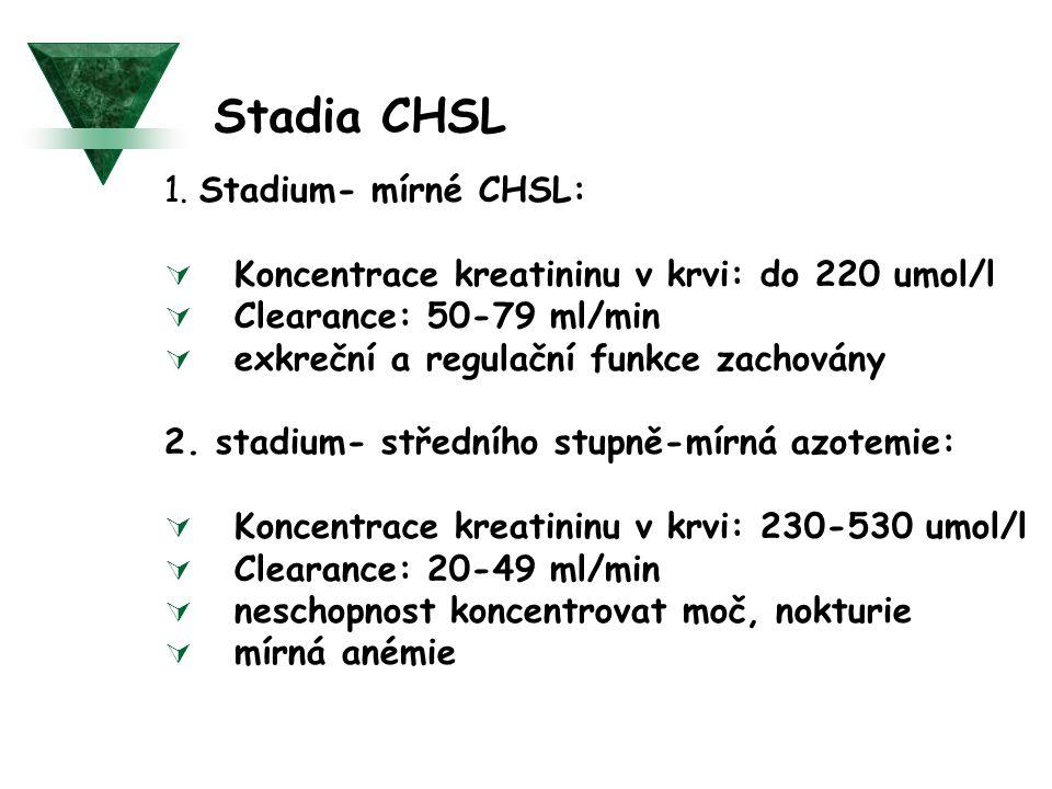 Stadia CHSL 1. Stadium- mírné CHSL:  Koncentrace kreatininu v krvi: do 220 umol/l  Clearance: 50-79 ml/min  exkreční a regulační funkce zachovány 2