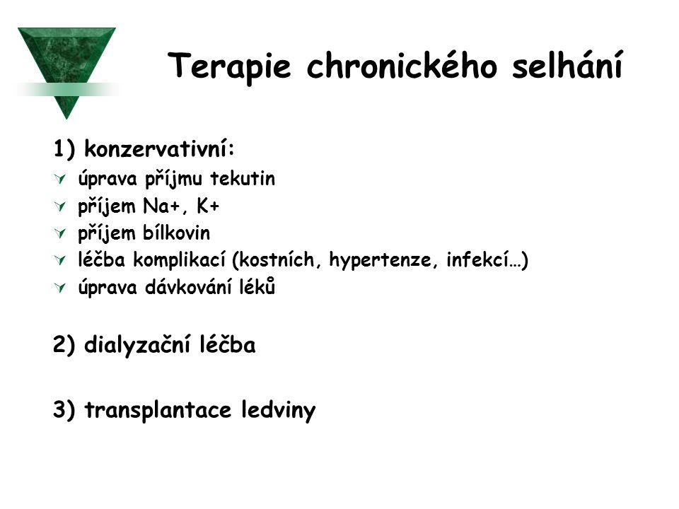 Terapie chronického selhání 1) konzervativní:  úprava příjmu tekutin  příjem Na+, K+  příjem bílkovin  léčba komplikací (kostních, hypertenze, inf