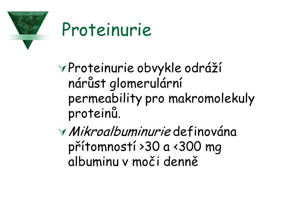 Proteinurie  Proteinurie obvykle odráží nárůst glomerulární permeability pro makromolekuly proteinů.  Mikroalbuminurie definována přítomností >30 a
