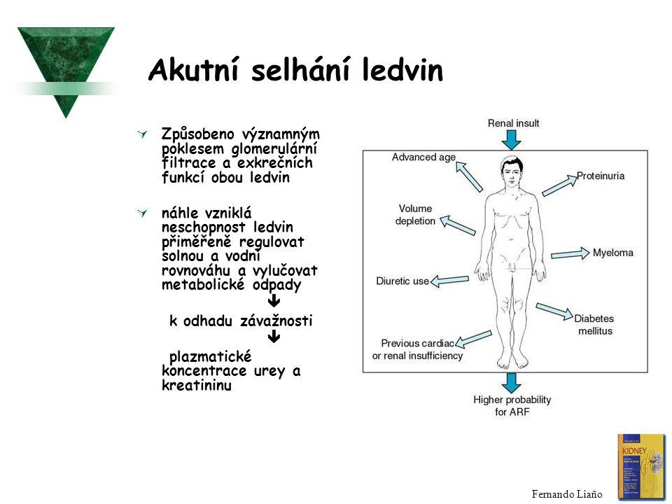 Akutní selhání ledvin  Způsobeno významným poklesem glomerulární filtrace a exkrečních funkcí obou ledvin  náhle vzniklá neschopnost ledvin přiměřen