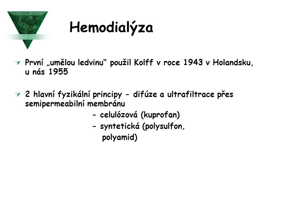 """Hemodialýza  První """"umělou ledvinu"""" použil Kolff v roce 1943 v Holandsku, u nás 1955  2 hlavní fyzikální principy - difúze a ultrafiltrace přes semi"""