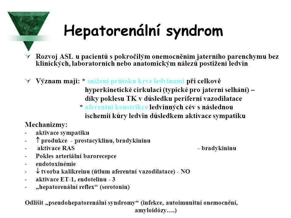 Hepatorenální syndrom  Rozvoj ASL u pacientů s pokročilým onemocněním jaterního parenchymu bez klinických, laboratorních nebo anatomickým nálezů post