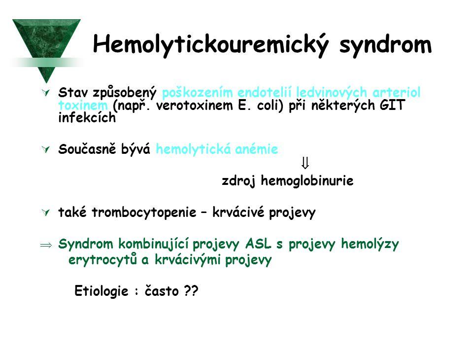 Hemolytickouremický syndrom  Stav způsobený poškozením endotelií ledvinových arteriol toxinem (např. verotoxinem E. coli) při některých GIT infekcích
