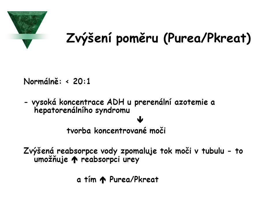 Zvýšení poměru (Purea/Pkreat) Normálně: < 20:1 - vysoká koncentrace ADH u prerenální azotemie a hepatorenálního syndromu  tvorba koncentrované moči Z