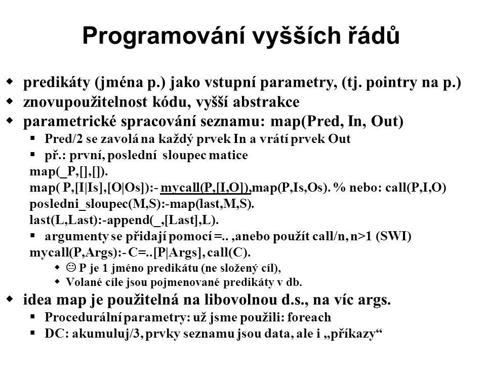 Programování vyšších řádů  predikáty (jména p.) jako vstupní parametry, (tj.