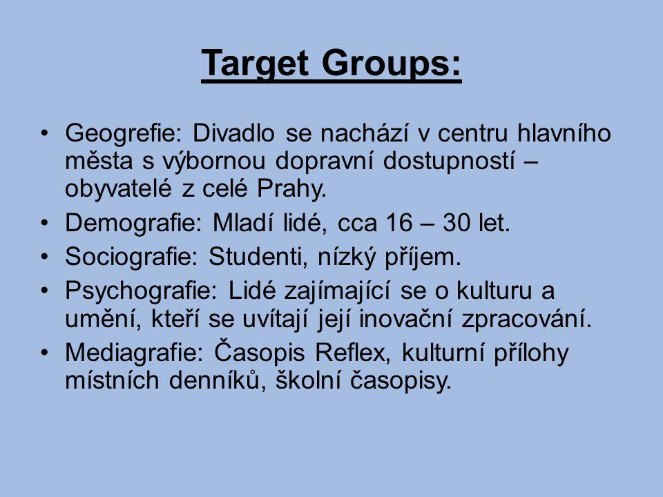 Target Groups: Geogrefie: Divadlo se nachází v centru hlavního města s výbornou dopravní dostupností – obyvatelé z celé Prahy.
