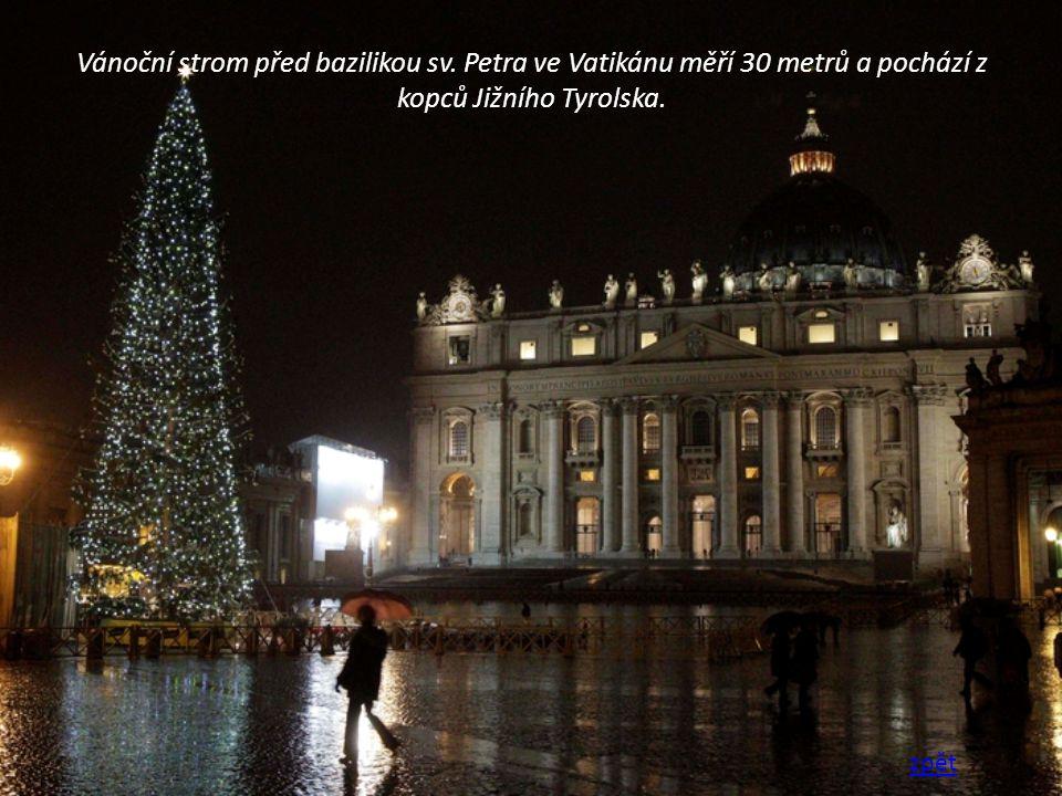 Vánoční strom před bazilikou sv. Petra ve Vatikánu měří 30 metrů a pochází z kopců Jižního Tyrolska. zpět