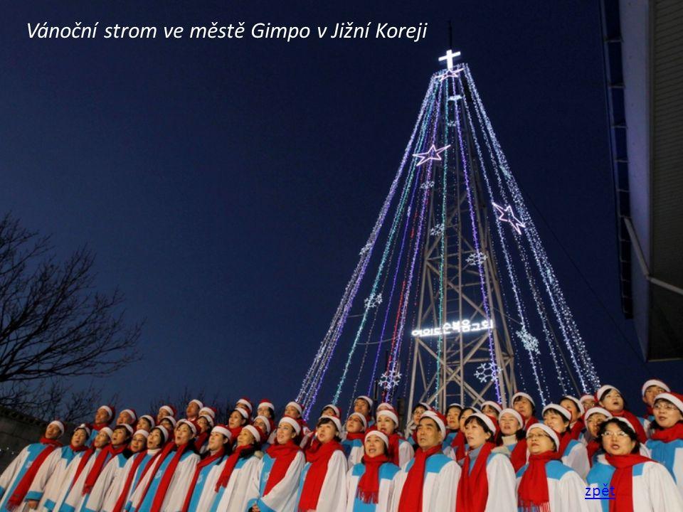 Vánoční strom ve městě Gimpo v Jižní Koreji zpět