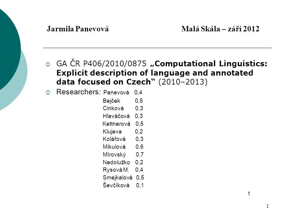 """1 Jarmila Panevová Malá Skála – září 2012  GA ČR P406/2010/0875 """"Computational Linguistics: Explicit description of language and annotated data focused on Czech (2010–2013)  Researchers: Panevová 0,4 Bejček 0,5 Cinková 0,3 Hlaváčová 0,3 Kettnerová 0,5 Klujeva 0,2 Kolářová 0,3 Mikulová 0,6 Mírovský 0,7 Nedolužko 0,2 Rysová M."""