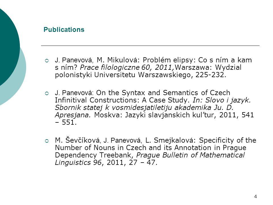 4 Publications  J. Panevová, M. Mikulov á : Problém elipsy: Co s ním a kam s ním? Prace filologiczne 60, 2011,Warszawa: Wydzial polonistyki Universit